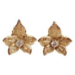 14 Karat Yellow Gold Diamond Earrings, Floral Leaf Design, Friction Post