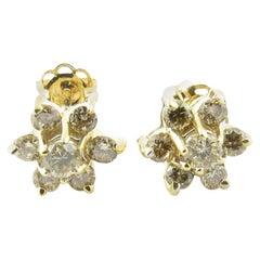 14 Karat Yellow Gold Diamond Earrings