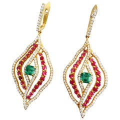 14 Karat Yellow Gold, Diamond, Emerald and Ruby Cocktail Earrings