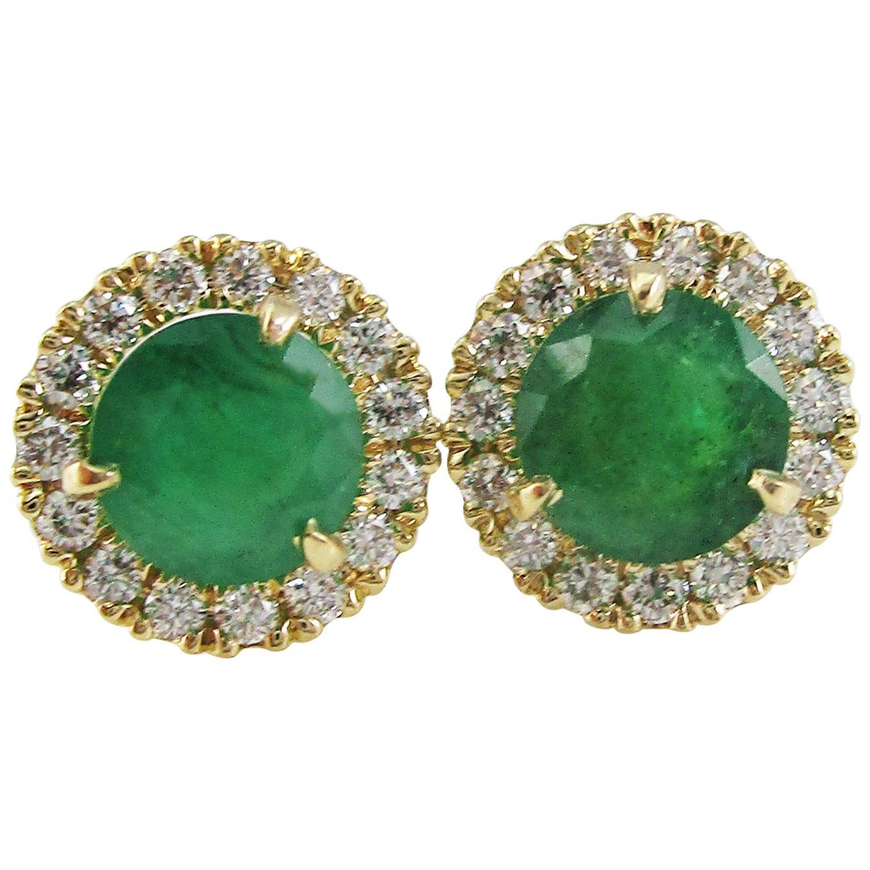 14 Karat Yellow Gold Diamond Emerald Stud Earrings