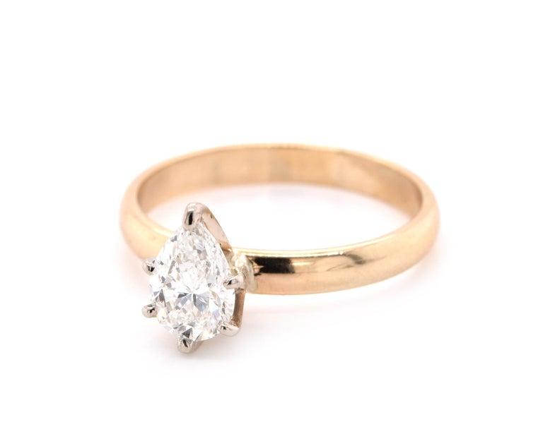 Pear Cut 14 Karat Yellow Gold Diamond Engagement Ring For Sale