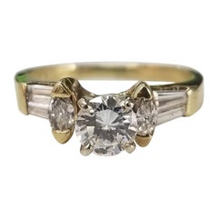 14 Karat Yellow Gold Diamond Engagement Ring