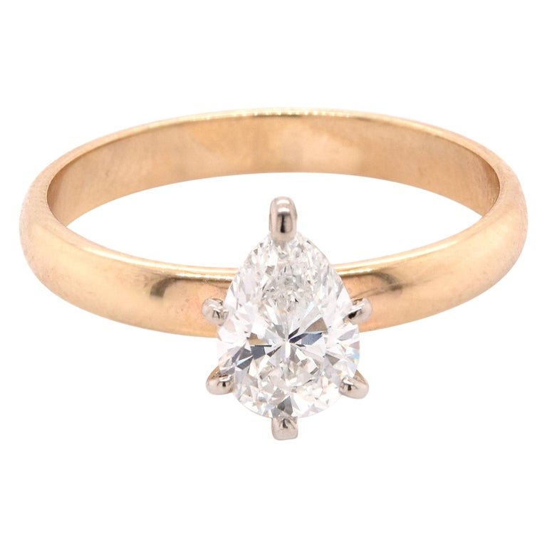 14 Karat Yellow Gold Diamond Engagement Ring For Sale