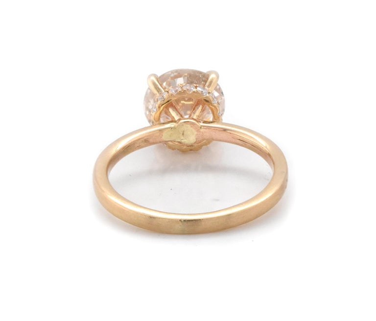 14 Karat Yellow Gold Diamond Engagement Ring with Hidden Diamond Halo In Excellent Condition For Sale In Scottsdale, AZ