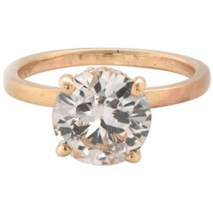 14 Karat Yellow Gold Diamond Engagement Ring with Hidden Diamond Halo