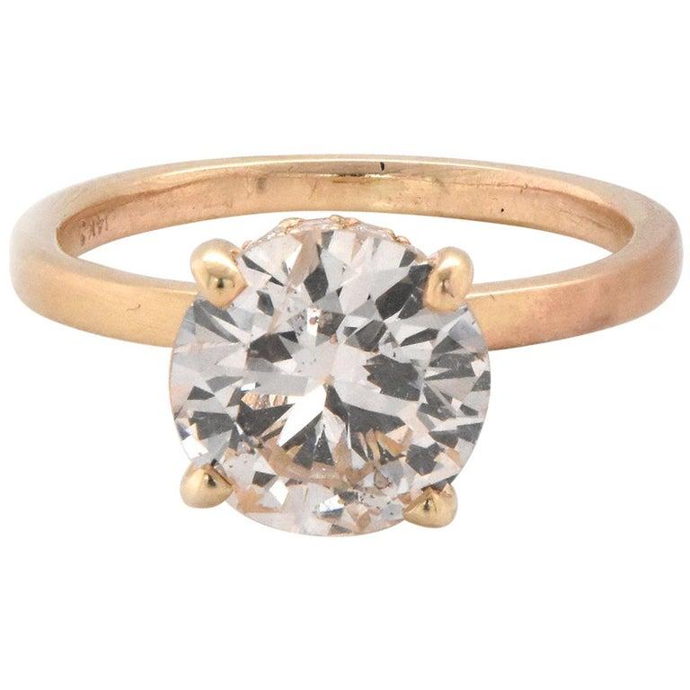 14 Karat Yellow Gold Diamond Engagement Ring with Hidden Diamond Halo For Sale