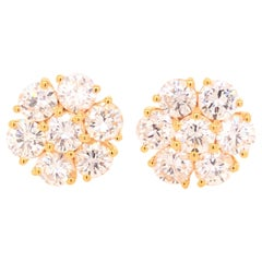 14 Karat Yellow Gold Diamond Floral Stud Earrings
