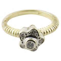 14 Karat Yellow Gold Diamond Flower Ring