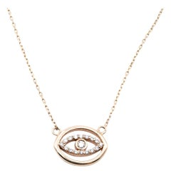 14 Karat Yellow Gold Diamond Hale Eye Necklace