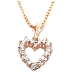14 Karat Yellow Gold Diamond Heart Necklace