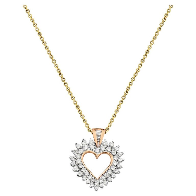 14 Karat Yellow Gold Diamond Heart Pendant For Sale