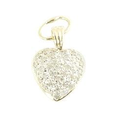 14 Karat Yellow Gold Diamond Heart Pendant