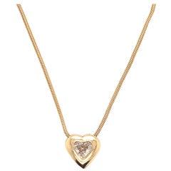 14 Karat Yellow Gold Diamond Heart Pendant Necklace