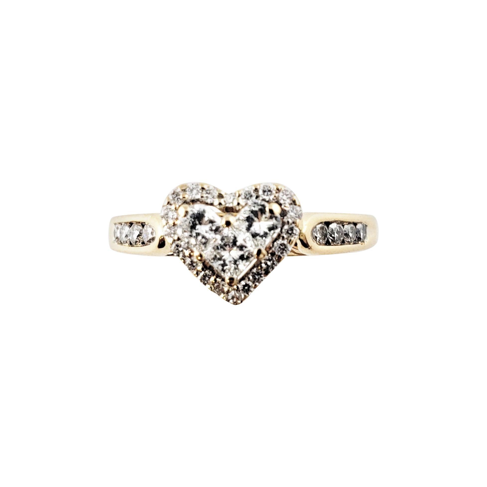 14 Karat Yellow Gold Diamond Heart Ring