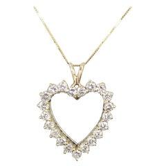 14 Karat Yellow Gold Diamond Heart with 1.30 Carat