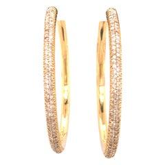 14 Karat Yellow Gold Diamond Hoop Earrings