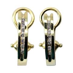 14 Karat Yellow Gold Diamond Huggie Earrings