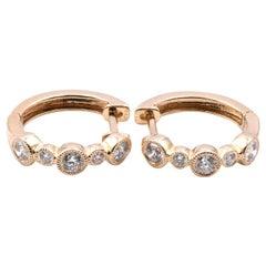 14 Karat Yellow Gold Diamond Huggie Hoop Earrings