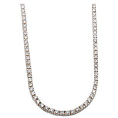 14 Karat Yellow Gold Diamond In-Line Tennis Neckalce