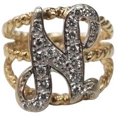 """14 Karat Yellow Gold Diamond Initial """"N"""" Ring"""