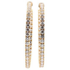 14 Karat Yellow Gold Diamond Inside Outside Hoop Earrings