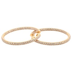 14 Karat Yellow Gold Diamond Inside/Outside Hoop Earrings
