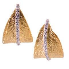 14 Karat Yellow Gold Diamond Leaf Motif Hoop Earrings by R. Reiss