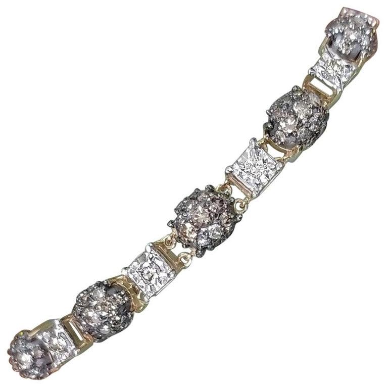 14 Karat Yellow Gold Diamond Link Bracelet with White and Conac Brown Diamonds For Sale
