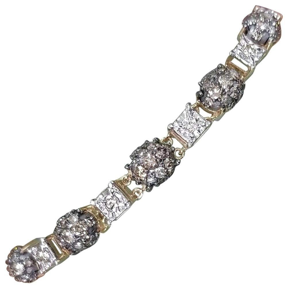 14 Karat Yellow Gold Diamond Link Bracelet with White and Conac Brown Diamonds