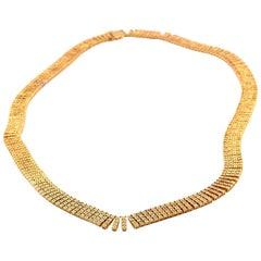14 Karat Yellow Gold Diamond Link Necklace