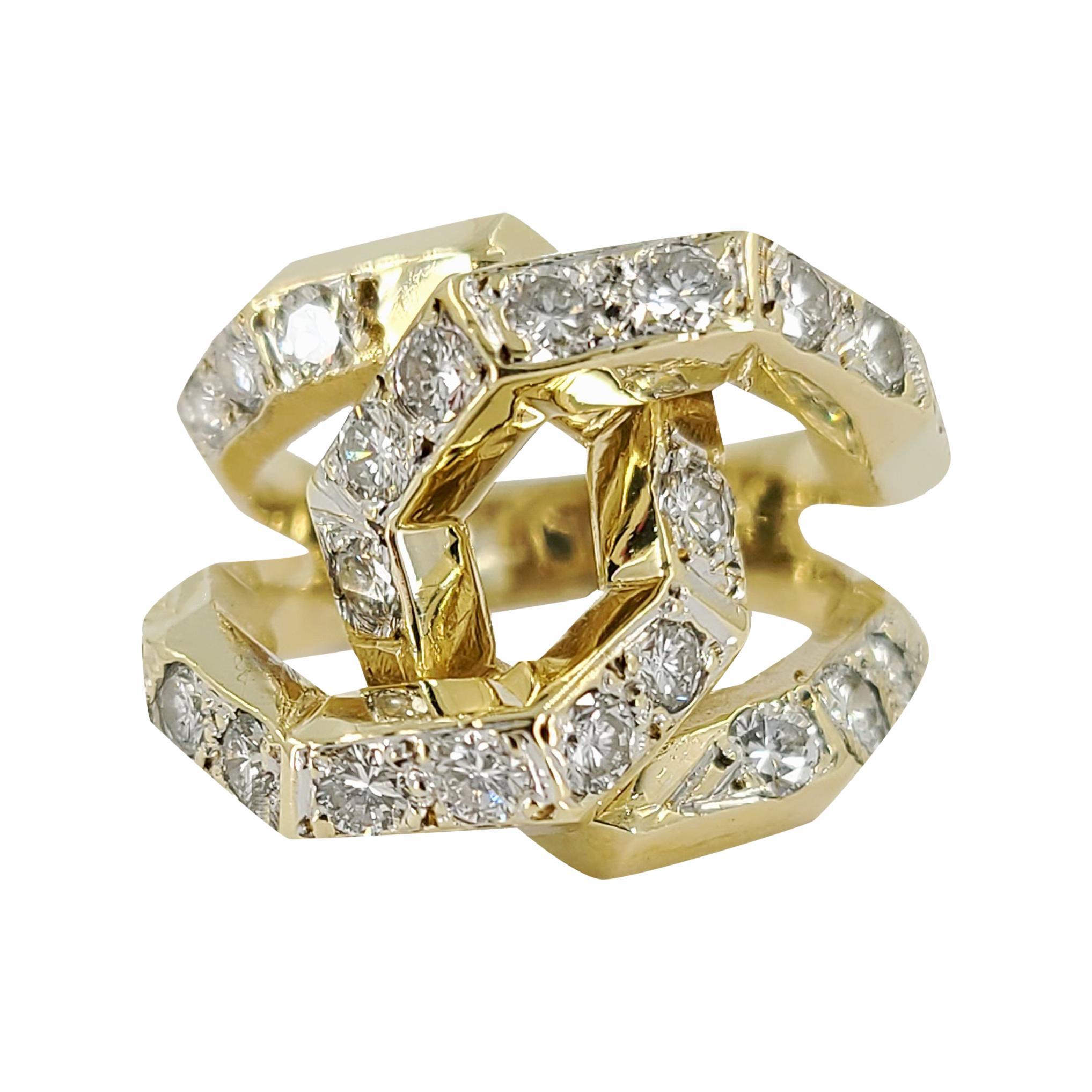 14 Karat Yellow Gold Diamond Link Ring
