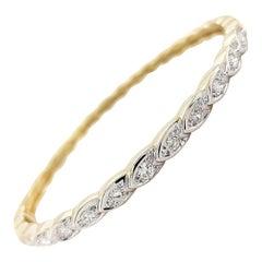 14 Karat Yellow Gold Diamond Loose Braid Fancy Hinged Bangle Bracelet