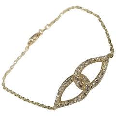 "14 Karat Yellow Gold Diamond ""Love Knot"" Bracelet"