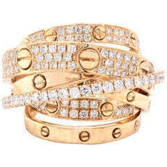 14 Karat Yellow Gold Diamond Multi Band Fashion Ring