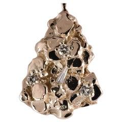 14 Karat Yellow Gold Diamond Nugget Pendant .42 Carat TW SI1-SI2; G-K 12.0 Grams