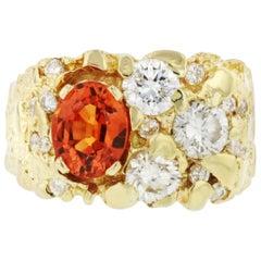 14 Karat Yellow Gold Diamond Orange Stone Ring