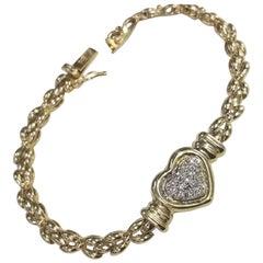 14 Karat Yellow Gold Diamond Pave' Heart Bracelet on Link Bracelet