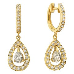 14 Karat Yellow Gold Diamond Pave Hoop Dangle Earrings