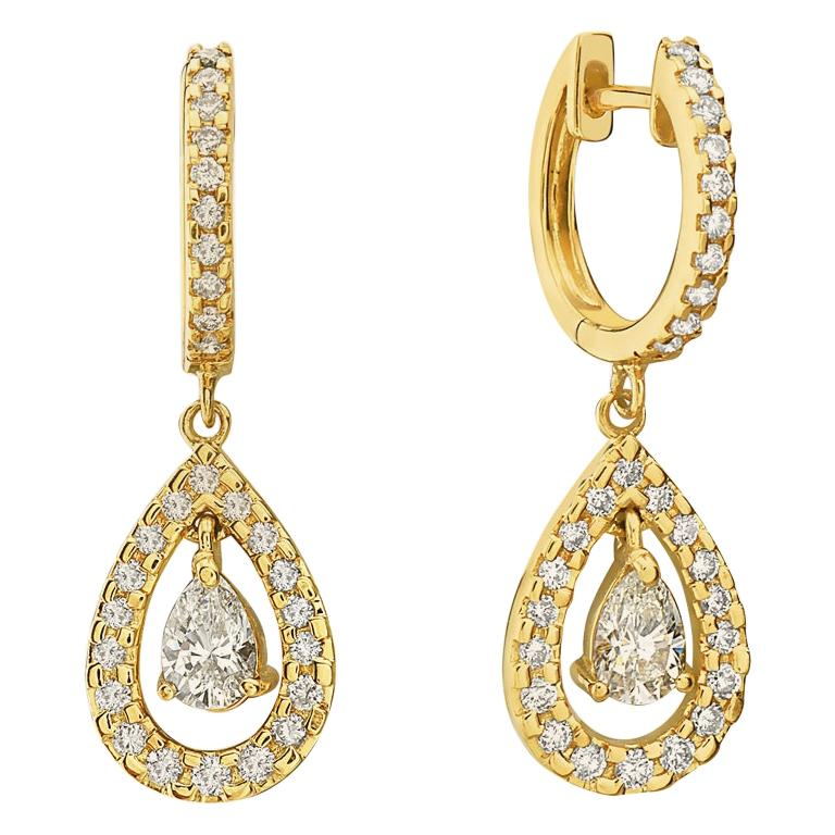 14 Karat Yellow Gold Diamond Pave Hoop Dangle Earrings For Sale