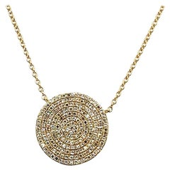 14 Karat Yellow Gold Diamond Pave Pendant Necklace