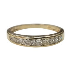 14 Karat Yellow Gold Diamond Princess Cut Wedding Ring