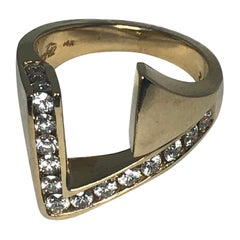 14 Karat Yellow Gold Diamond Ring by Hanchu