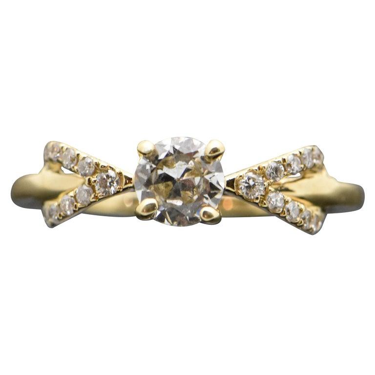 14 Karat Yellow Gold Diamond Ring For Sale