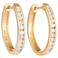 14 Karat Yellow Gold Diamond Round Hoop Earrings