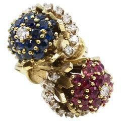 14 Karat Yellow Gold Diamond, Ruby and Sapphire Bypass Ring