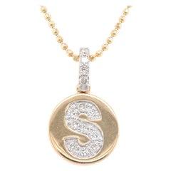 14 Karat Yellow Gold Diamond S Disc Necklace