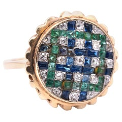 14 Karat Yellow Gold Diamond, Sapphire, and Emerald Checkerboard Ring