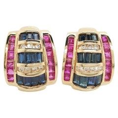14 Karat Yellow Gold Diamond Sapphire and Ruby Omega Back Earrings