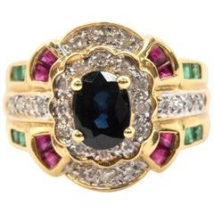 14 Karat Yellow Gold, Diamond Sapphire Emerald Ruby Fashion Ring