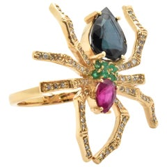 14 Karat Yellow Gold, Diamond, Sapphire, Ruby and Emerald Spider Ring